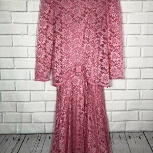 VTG ILGWU WOMENS PINK & LACE DRESS Pat Richards